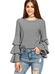 ruffle blouses shein s striped layered bell sleeve ruffle blouse grey