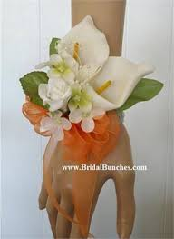 calla corsage orange and white calla wedding flowers or special events corsage