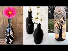 Home Decor Glass Upcycled Diy Glass Bottle Art Home Decor Ideas Painted Black