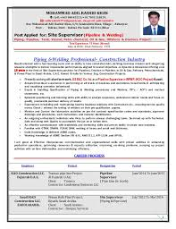 Sample Resume For Construction Site Supervisor by 00 Resume Of Site Supervisor Pipeline U0026 Welding