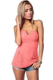 strapless blouse coral damask textured strapless peplum top cicihot top shirt