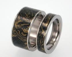 titanium wedding ring sets 14k gold and black titanium ring with mokume gane inset unique