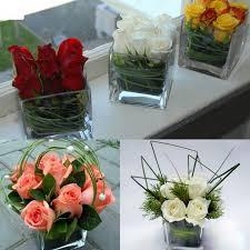 Cube Vase Centerpieces by Centerpiece Flowers