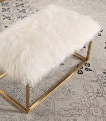 Faux Fur Ottoman Ottomans Benches Stainless Steel Faux Fur Ottoman