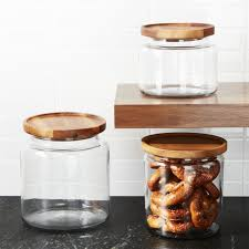 kitchen glass canisters with lids montana acacia and glass jars crate and barrel