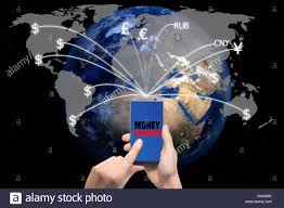 global money transfer hand holding smart phone sent money flying away from screen to