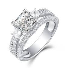 womens engagement rings princess cut white sapphire 925 sterling silver womens engagement