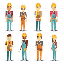 builder contractor man and female worker vector people character