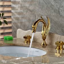 dingmans swan shaped gold finish dual handle bathroom sink faucet