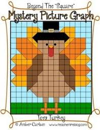 mystery picture graph turkey thanksgiving math