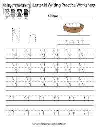 kindergarten letter n writing practice worksheet printable kids