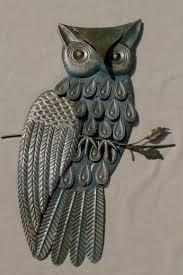 vintage owl plaque retro 70s metal wall art for rustic decoration