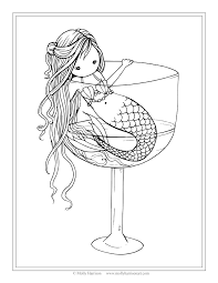 free mermaid coloring page mermaid in wine glass by molly harrison