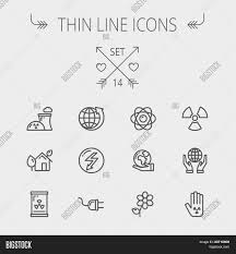 ecology thin line icon set for web and mobile set includes palm