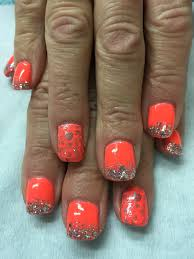 neon coral summer vacation stamped silver glitter gel nails gel