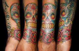 sugarskull and roses tattoo picture