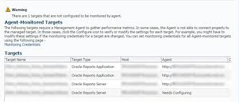 standalone reports server target in em fmw control cannot connect