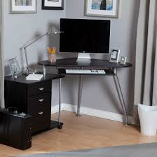 fancy small black computer desk style idea with silver base black