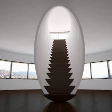 home interior spiral walnut wood staircase rounded brown modern