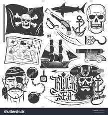 pirate set logos blackbeard tattoo skull stock vector 296502779