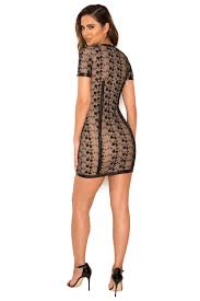 Leather And Lace Clothing Clothing Bodycon Dresses U0027calvina U0027 Black Lace Mini Dress