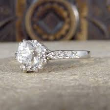 1920s art deco diamond solitaire engagement ring in 18ct white gold