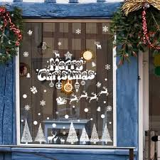 white merry christmas banner glass window decoration wall stickers