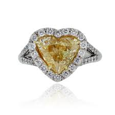 heart shaped engagement ring platinum 2 01ct fancy yellow heart shaped diamond engagement ring