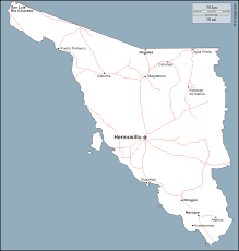 Hermosillo Mexico Map by Sonora Free Map Free Blank Map Free Outline Map Free Base Map