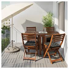 Ikea Folding Table And Chairs äpplarö Table 4 Folding Chairs Outdoor Brown Stained Ikea