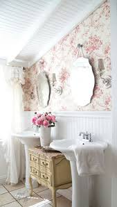 country style mirrors home decor french country style bathroom with toile wallpaper and scalloped