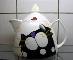 sold 65 great shakes fine bone china tea pot with black cat by