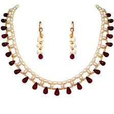 ruby necklace earrings images Marvelous single line rice pearl ruby necklaces surat diamond jewelry jpg