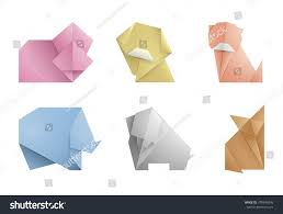 Origami Pets - collection 6 simple origami symbolicons animalsorigami stock