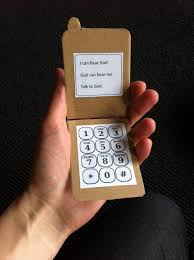 prayer craft make a phone with text on screen