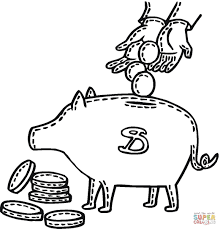 penny deposit into a piggy bank coloring page free printable