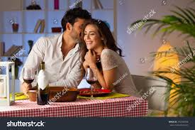 Romantic Dinner At Home by Romantic Couple Having Dinner Home Stock Photo 242706706