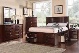 furniture queen captain bed with drawers in dark brown wood
