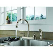 Peerless Kitchen Faucet Reviews Peerless 2 Handle Lavatory Faucet With Side Spray Stainless Steel