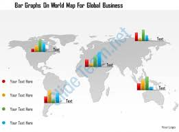 0115 bar graphs on world map for global business powerpoint