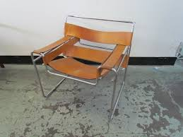 furniture wassily chair chrome and leather with concrete floor