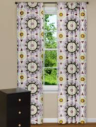 contemporary medallion print curtain panel in purple yellow and grey