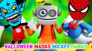 mickey mouse superhero robot and halloween masks finger family