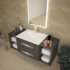 wall mounted sink cabinet sonix 1170 grey wall hung unit buy online at bathroom city