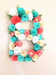 floral letter large paper mache letter blue and coral paper