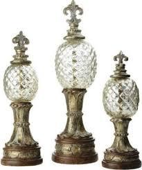 Fleur De Lis Decor Cbk Styles 65783 Set Of Three Finial Pineapple Stand Decor Fleur