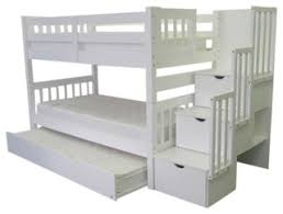 Bunked Beds Bunk Bed With Trundle White Transitional Bunk Beds By