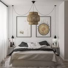 40 beautiful bedrooms that we are in awe of there s a lot going on in this comfortable bedroom the geometric wall serves as a fantastic backdrop for the nature themed artwork with the ikea sinnerlig