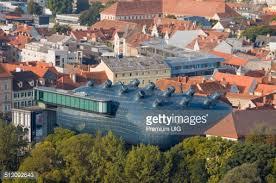 Kunsthaus Graz Aerial View Of Modern Building Of Grazer Kunsthaus Graz Art Museum