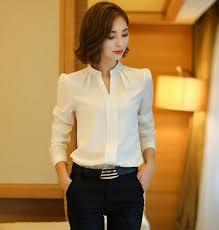 formal blouse winter shirts 2016 fashion v neck collar white